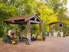 Designed to evoke images of the great rustic lodges at many national parks, this 10' x 10' fully covered pergola is made of structurally enhanced fiberglass resin made to look like wood. Here it has been paired with a pergola-covered outdoor kitchen.  Photo by The Outdoor Greatroom Company.