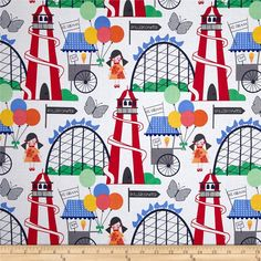 Michael Miller Funfair Funfair Primary from @fabricdotcom  Designed by Michael Miller, this cotton print fabric is perfect for quilting, apparel and home decor accents. Colors include red, orange, yellow, green, blue, grey, and white.