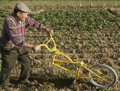 Turned around Bike Plough
