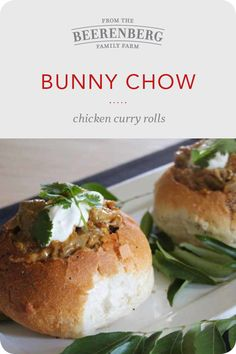 Bunny Chow, Chicken Curry Rolls are the perfect winter warmer. Click the image for the recipe.  #winterrecipes #chickencurry #easyrecipes
