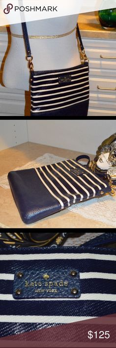 Kate Spade Navy & White crossbody purse Kate Spade navy & white striped crossbody purse in excellent condition. No defects or worn spots. kate spade Bags Crossbody Bags