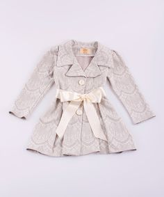 Take a look at the Mia Belle Baby Silver Scallop Pleated Jacket - Toddler & Girls on #zulily today!