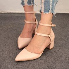 2014 new Sweet fresh high heels pointed shoes buckles women's pumps size 34-39 mixed PU leather shoes lady's fashion tacones 4 $111.40