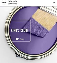 This color is a true purple hue. It has a dark value but a very strong intense chroma. Bear Paint Colors, Paint Colors For Home, Bold Living Room, Living Room Colors, House Color Schemes, House Colors, Behr Colors, Colours, Paint Color Pallets