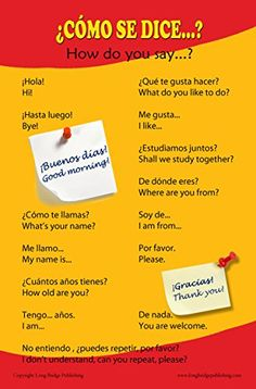 Spanish Language School Poster - Common greetings and phrases- Wall chart for home and classroom - Bilingual: Spanish and English text http://www.amazon.com/dp/B00S2033RC/ref=cm_sw_r_pi_dp_KViSub1ATWRAT