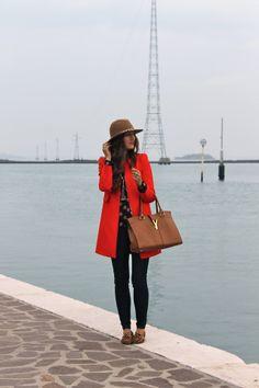 Stunning orange jacket to brighten up a gloomy day