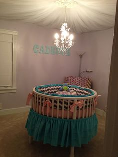 Custom Round Crib Bedding Made to Order by MultiCouture on Etsy Round Crib Bedding, Baby Bedding, Baby Basinets, Baby Girls, Baby Nursery Themes, Girl Nursery, Round Baby Cribs, Baby Crib Designs, All White Room