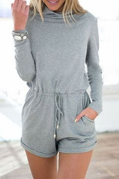 This grey turtleneck drawstring romper features mock neck design, together with long sleeves detailing and an adjustable drawstring at waist, back zipper and side pockets. Cute Rompers, Rompers Women, Jumpsuits For Women, Long Sleeve Playsuit, Long Romper, Playsuit Dress, Summer Outfits, Casual Outfits, Cute Outfits
