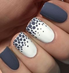 Superb Blue and White Dotted Nail Art Design