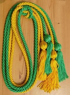 Double Graduation Honor Cords Black and Forest Green,68 Long