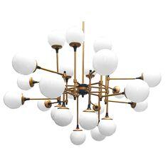Lámpara de techo Vintage dorado y negro con bolas blancas