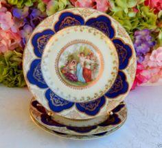 3 Beautiful Vintage Czech Porcelain Portrait Plates ~ Cobalt ~ Gold Gild