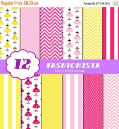 550% OFF SALE Fashion Digital Paper, Fashionista Scrapbook Paper Supplies, Dress Pattern, Printable Paper, Pink, Yellow, Commercial Download by I365Art on Etsy