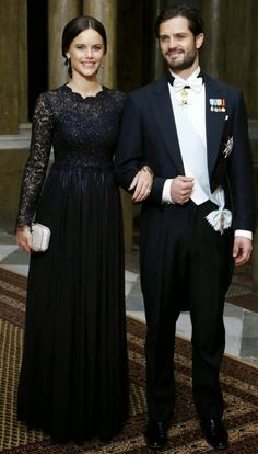 Swedish Royal Family Attend a Gala Dinner at Royal Palace. Prince Carl Philip and fiancé Sofia.