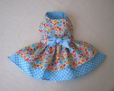 Small    DOG DRESS  Blue little dog dress  puppies and by PawLane, $29.00