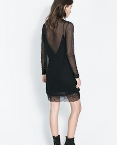 ZARA - WOMAN - DOUBLE LAYER LINGERIE STYLE AND MESH DRESS