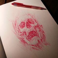 Skull sketch. #skull #tattoo #drawing #illustration #chronicink #chronicinktattoo