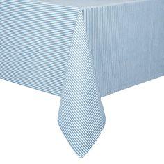 Buy John Lewis Seersucker Tablecloth, Blue | John Lewis