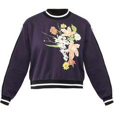 Gestuz Grace Cotton Mix Flowers Sweatshirt ($65) ❤ liked on Polyvore featuring tops, hoodies, sweatshirts, navy, navy striped top, navy sweatshirt, long sleeve cotton tops, stripe top and purple sweatshirt