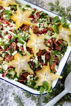 Festive Holiday Slaw: a beautiful addition to your holiday table (raw, vegan). Star Fruit Recipes, Raw Food Recipes, Salad Recipes, Healthy Recipes, Happiness Recipe, Greek Appetizers, Main Dish Salads, Caramel Pecan, Holiday Festival