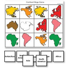 Continent Identification Bingo Game by shape and Montessori color