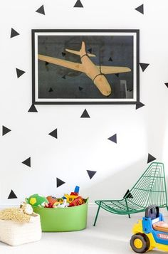 Sean Litchfield Photography Modern & Contemporary Kids Bedroom Design. Love the black triangle wall decals for kids bedroom or playroom. #walldecal #wallpaper #affiliate #kidsdecor
