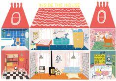 Doll's house interior, illustration by Louise Lockhart http://louiselockhart.co.uk