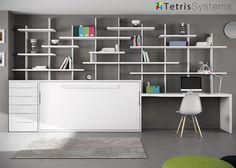 Cama abatible con escritorio y estantería Tetris