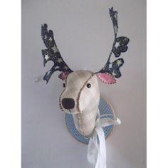 deer reindeer fabric mounted head brown check blue