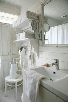 Planked Wall Vintage Inspired White Farmhouse Bath