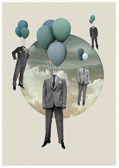 collage, man, balloon, color, suit — Clément G Collage Foto, Art Du Collage, Surreal Collage, Collage Design, Art Design, Surreal Art, Digital Collage, Digital Art, Love Collage