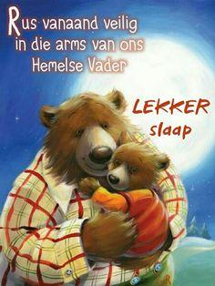 Goeie Nag, Good Night Quotes, Afrikaans, Qoutes, Teddy Bear, Van, Sleep Well, Animals, Soul Food