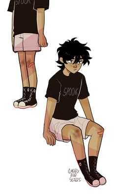 """cherryandsisters: """"so willsolacester was like """"i wish someone drew nico with visible legs"""" so i drew nico with visible legs """" Percy Jackson Memes, Percy Jackson Books, Percy Jackson Fandom, Will Solace, Rick Riordan Series, Rick Riordan Books, Rick Y, Uncle Rick, Solangelo"""