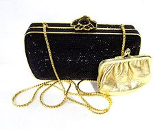 Judith Leiber Swarovski Crystal Chain Evening Clutch, Black & Gold