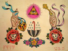 Sara Purr Tattoo Flash | KYSA #ink #design #tattoo