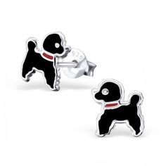 Black Poodle Dog Earrings Small Size 925 Sterling Silver Childrens Earrings *** Click image for more details. Animal Earrings, Stud Earrings, Girls Earrings, Beautiful Gift Boxes, Sterling Silver Earrings Studs, Doge, Kitsch, Poodle, Dogs And Puppies