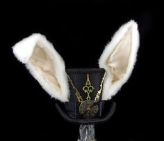 The White Rabbit Black on Black Clockwork Bunny by TheWeeHatter