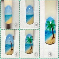 Nail designs here! Nail Art Hacks, Gel Nail Art, Sponge Nail Art, Beach Nail Art, Sea Nails, Nail Drawing, Diy Nail Designs, Nail Decorations, Nails Inspiration