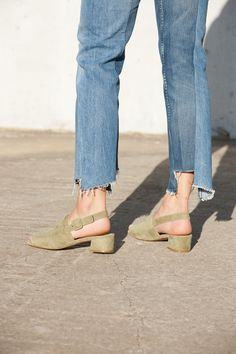 Scandi Strap Sandal in green suede.. love this!