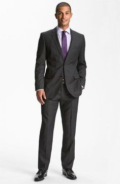 BOSS Black 'Jam/Sharp' Trim Fit Grey Virgin Wool Suit | Nordstrom