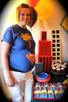 """Our church had the privileged of throwing Val a superhero themed baby shower for her little man, who was unnamed at the time- hence an """". Marvel Baby Shower, Superman Baby Shower, Superhero Baby Shower, Superhero Party, Baby Shower Parties, Baby Shower Themes, Baby Boy Shower, Shower Ideas, Baby Party"""