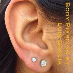 simple double ear lobe piercing - Google Search