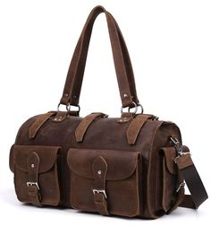 5107017255 Image of Vintage Handmade Large Genuine crazy horse Leather Travel Bag    Luggage   Duffle Bag