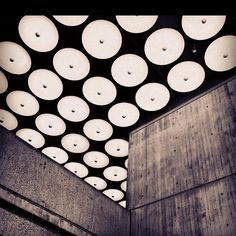 Concrete Walls and Ceiling Lights at Whitney Museum
