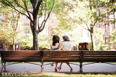 On a bench. | 31 Impossibly Sweet Mother-Daughter Photo Ideas