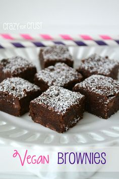 Vegan Brownies: these are a rich, dense, and fudgy brownie that is egg and dairy free. You'll never know these are vegan; they're the BEST VEGAN BROWNIES! Vegan Dessert Recipes, Köstliche Desserts, Dairy Free Recipes, Brownie Recipes, Delicious Desserts, Yummy Food, Vegan Treats, Vegan Foods, Vegan Dishes
