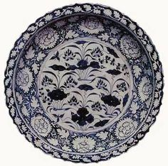 Blue And White 'Lotus Pond' Foliate Rim Charger. Yuan Dynasty National Museum of Iran.