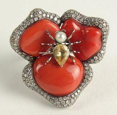Lady's Vintage 18 Karat White Gold, Carved Red Coral, : Lot 50
