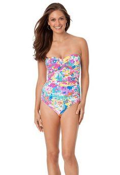 cc42e8ea2785a Anne Cole Floral Shirred Bandeau Swimsuit 16MO085 Front Bandeau Swimsuit, 1  Piece Swimsuit, Bikini