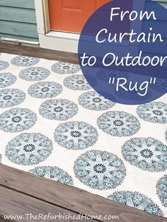 When the outdoor rug you fall in love with is actually a curtain panel... I found a way to make it work. www.TheRefurbishedHome.com